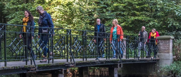 houtmoed lopen met groep over brug